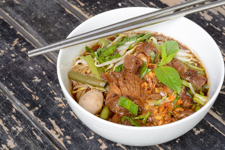 intense flavor: Noodle soup with intense flavor and beef, Thai local food. Stock Photo
