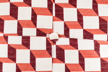Close up texture of bright red pillows