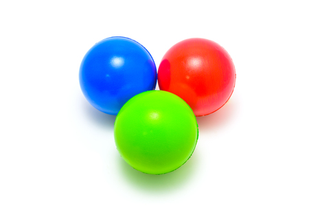 rgb: colour ball Red Green Blue RGB on white background