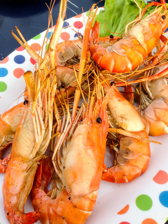 parch: grilled shrimp on a plate Thai local food Stock Photo