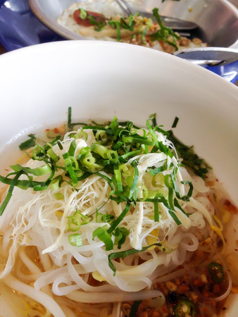 noodle soup in a little bowl Thai local food Stock Photo