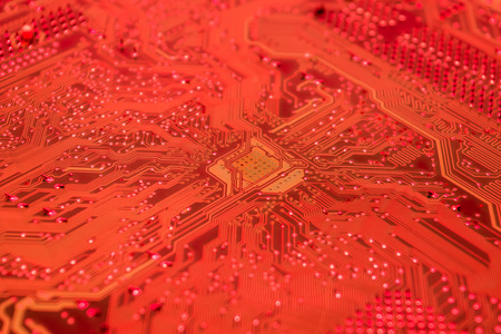 constitutive: closeup and detail of a red circuit board