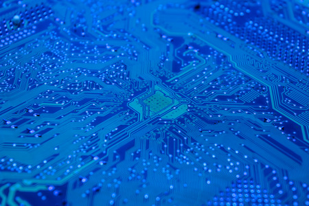 constitutive: closeup and detail of a blue circuit board