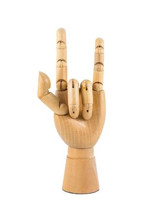 dedo meÑique: Mano de madera del símbolo de amor de la demostración aislada en el fondo blanco