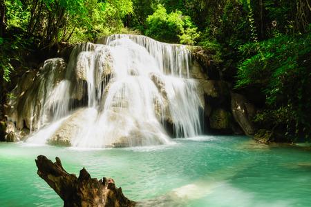 Huay Mae Kamin Waterfall in Khuean Srinagarindra National Park, Kanchanaburi Province Stock Photo