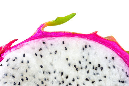 closeup and detail textured of dragon fruit isolated on white background