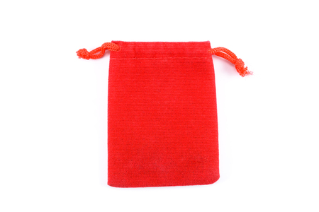fad: red bag fabric are opening isolated on white background Stock Photo