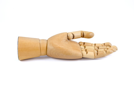 notion: wooden hand upturned hands isolated on white background