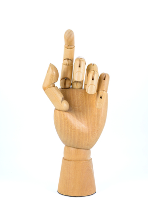 wooden hand isolated on white background