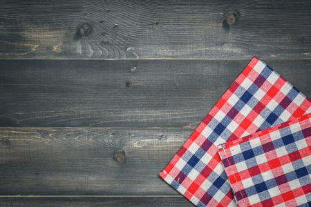tablecloth on wooden background or backdrop Stock Photo
