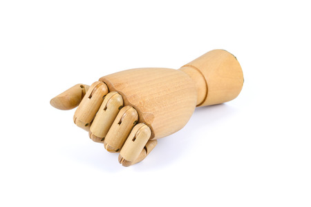 wooden hand stranglehold isolated on white background Stock Photo