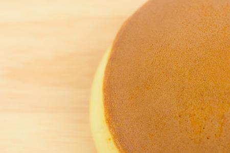 Closeup dorayaki on a wooden board, Japanese dessert Stock Photo