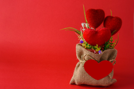 plastic bouquet and hearts in sack with a blank red paper are heart shapes isolated on red background