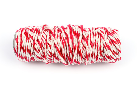 close up and detail red white rope isolated on white background