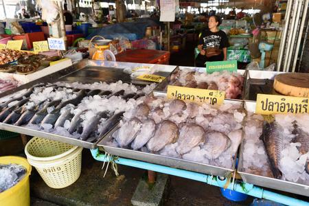 Rayong, Thailand-February 06 :Fresh seafood at Ban Phe local market on February 06, 2017 in Ban Phe local market, Rayong, Thailand