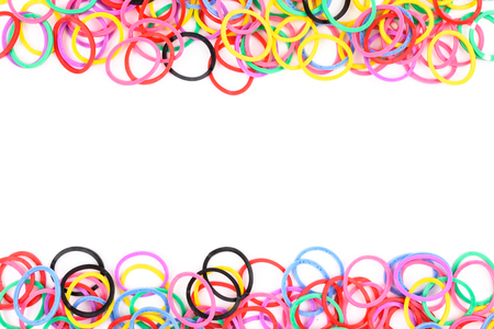 colorful plastic band isolated on white background
