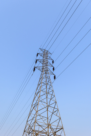 high voltage electrical pole structure. electricity distribution station