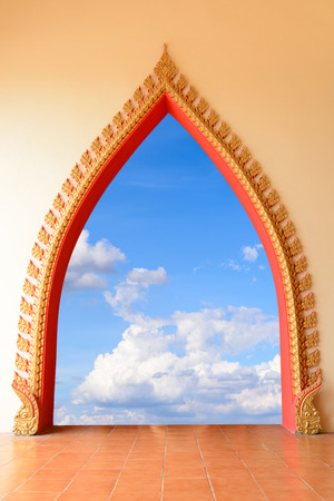 The door thai style to the blue sky