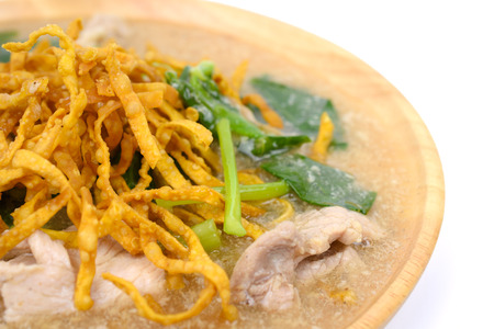 Close up of Noodles in Thick Gravy (Rad Na) isolated on white background, Thai local food Stock Photo