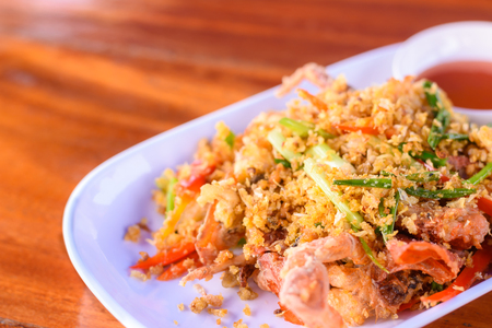 Fried Soft Shell Crab on a plate, Thai local food Imagens