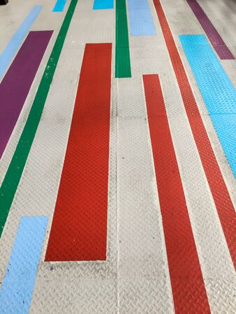 steel floor walkway and line color red blue green purple