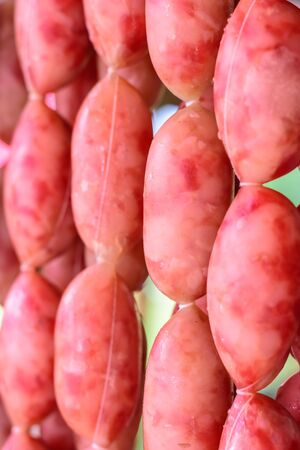 close up of sausage raw, Thai style local food. Foto de archivo