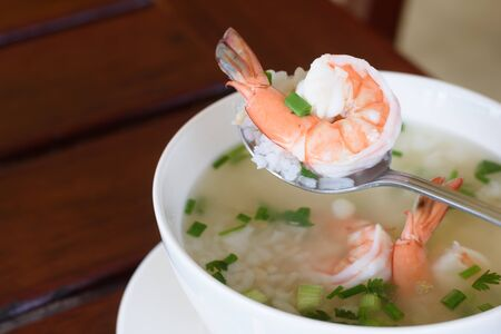 Rice soup with shrimp, Thai style breakfast.