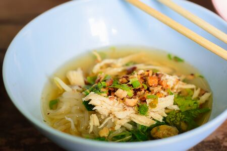 noodle soup in a little bowl Thai local food Foto de archivo