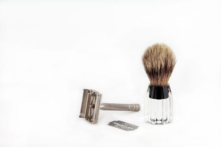 Razor and Blade with Brush for Shaving.