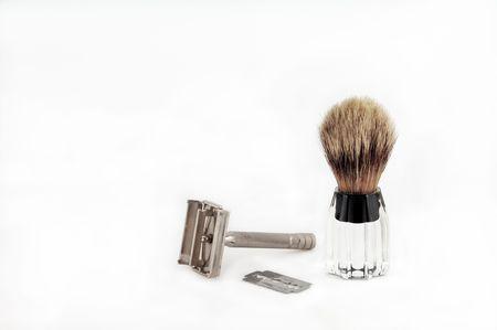 Razor Blade e con la spazzola per la rasatura. Archivio Fotografico - 2256116