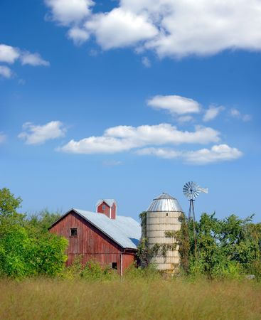 old red barn: Old red barn and silo in Wisconsin.