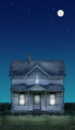 Haunted farmhouse under a full moon and stars.