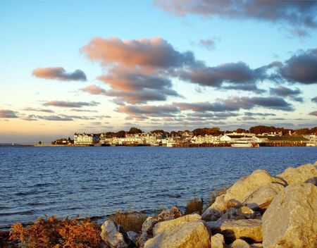 Mackinac Island harbor in Michigan at dawn. Stock Photo