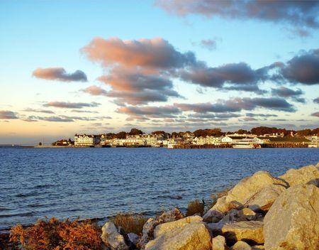 mackinac: Mackinac Island harbor in Michigan at dawn. Stock Photo