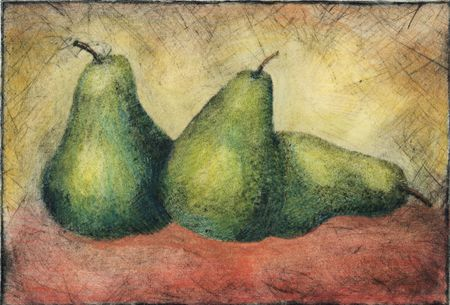 Hand printed pears from a copper plate. Hand colored.