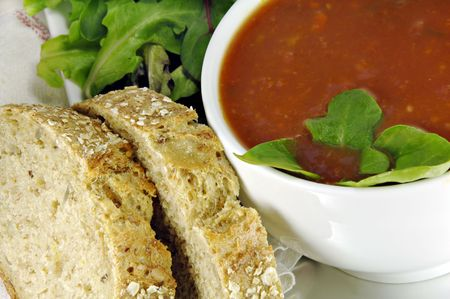 Tomato Basil Soup with Bread and salad.