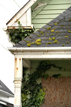 Abandoned house detail of porch and roof. Stock Photo - 2671232