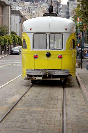 Old fashioned electric trolley car in San Francisco near Fishermans Warf.