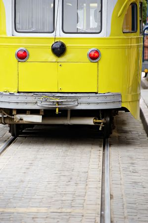Old fashioned electric trolley car in San Francisco near Fishermans Warf. photo