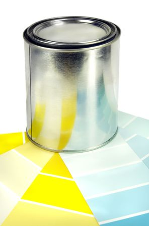 yellows: Paint can and color samples in yellows and blues.