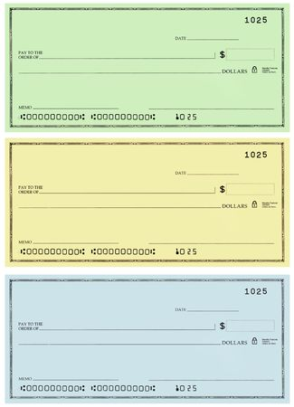 blank check: Three blank personal checks with no name and false account numbers in three different colors.