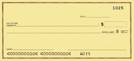 blank check: Blank check with false numbers in a gold tone.