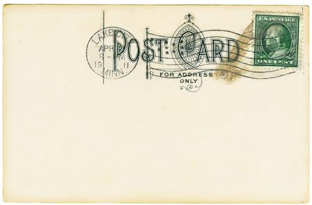 cent: Vintage postcard with a one cent stamp. Room to add your own message. Stock Photo