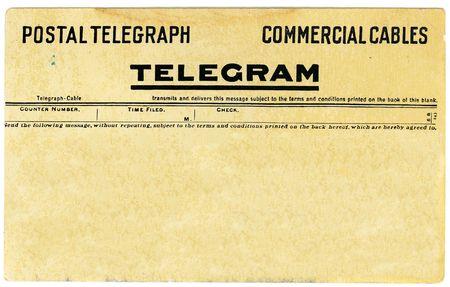 telegrama: Anticuarios postal telegrama con copia espacio para su propio mensaje.