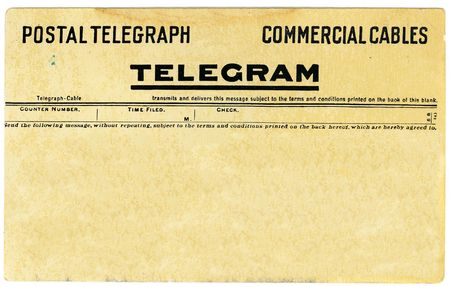 telegram: Antique postal telegram with copy space for your own message.