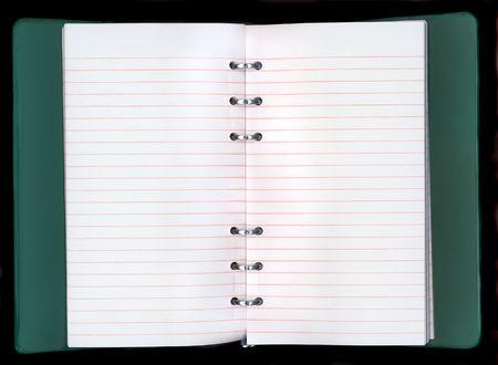자신 만 텍스트를 추가하기위한 빈 줄이 그어진 종이 노트를 엽니 다. 스톡 콘텐츠