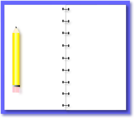 Illustration of a pencil on an open notebook ready for your own text.
