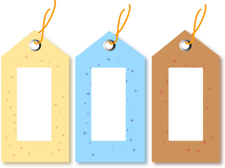pricetag: Yellow Blue and Brown Gift Tags ready for your own text.