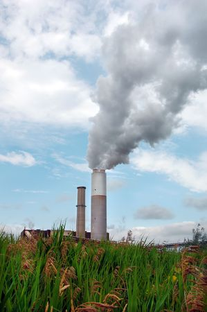 smoke stack: Smoke billowing out of the large smoke stack at a power plant.