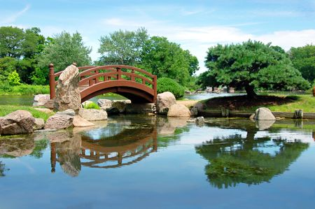 Japanese bridge, Osaka Garden located in Jackson Park, Chicago Stock Photo